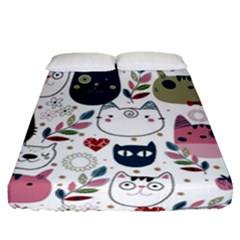 Pattern With Cute Cat Heads Fitted Sheet (queen Size)