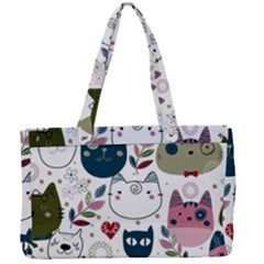 Pattern With Cute Cat Heads Canvas Work Bag by Bejoart