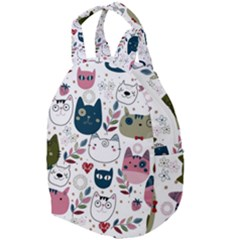 Pattern With Cute Cat Heads Travel Backpacks by Bejoart