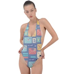 Pattern Postal Stationery Backless Halter One Piece Swimsuit by Bejoart