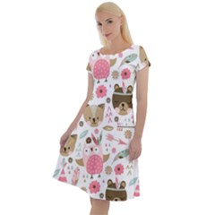 Pink Animals Pattern Classic Short Sleeve Dress by Bejoart
