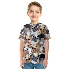Many Dogs Pattern Kids  Sport Mesh Tee