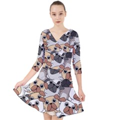 Many Dogs Pattern Quarter Sleeve Front Wrap Dress