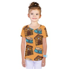 Pet House Bowl Food Seamless Pattern Kids  One Piece Tee