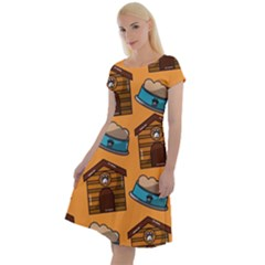 Pet House Bowl Food Seamless Pattern Classic Short Sleeve Dress