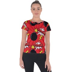Pop Art Comic Pattern Bomb Boom Explosion Background Short Sleeve Sports Top