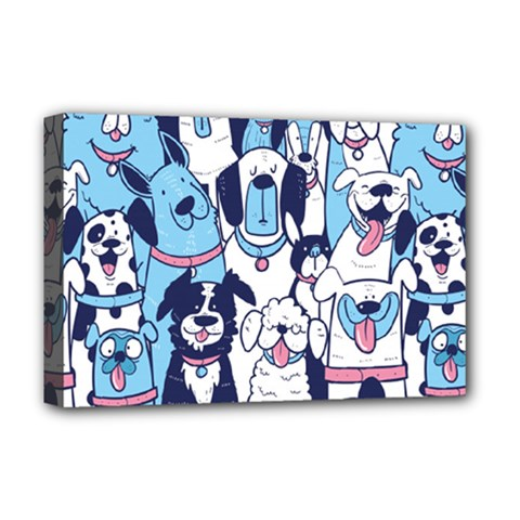 Dogs Seamless Pattern Deluxe Canvas 18  X 12  (stretched)