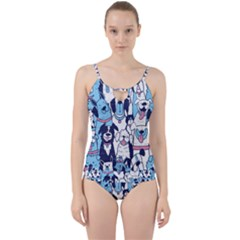 Dogs Seamless Pattern Cut Out Top Tankini Set