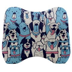 Dogs Seamless Pattern Velour Head Support Cushion