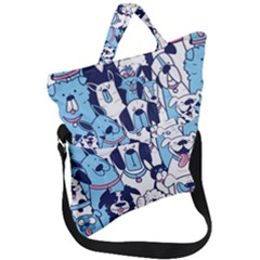 Dogs Seamless Pattern Fold Over Handle Tote Bag by Bejoart