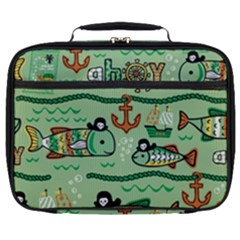 Seamless Pattern Fishes Pirates Cartoon Full Print Lunch Bag