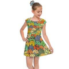 Seamless Pattern With Doodle Bunny Kids  Cap Sleeve Dress by Bejoart