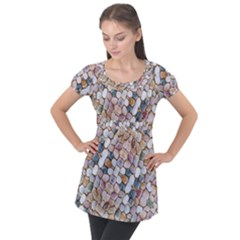 Rounded Stones Print Motif Puff Sleeve Tunic Top