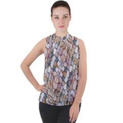Rounded Stones Print Motif Mock Neck Chiffon Sleeveless Top by dflcprintsclothing