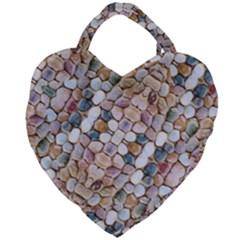 Rounded Stones Print Motif Giant Heart Shaped Tote by dflcprintsclothing