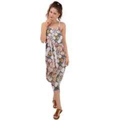 Rounded Stones Print Motif Waist Tie Cover Up Chiffon Dress