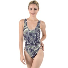 Modern Abstract Print High Leg Strappy Swimsuit