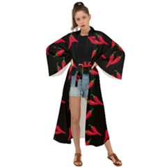 Red, Hot Jalapeno Peppers, Chilli Pepper Pattern At Black, Spicy Maxi Kimono by Casemiro