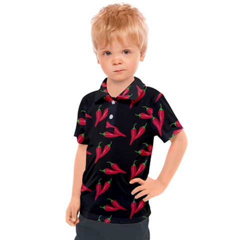 Red, Hot Jalapeno Peppers, Chilli Pepper Pattern At Black, Spicy Kids  Polo Tee by Casemiro