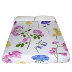 Botanical Flowers Fitted Sheet (queen Size)
