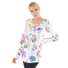Botanical Flowers Tie Up Tee by Dushan