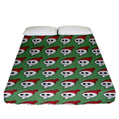 Comic Head Skull - Hat Red - Cartoon Skull Fitted Sheet (queen Size) by DinzDas