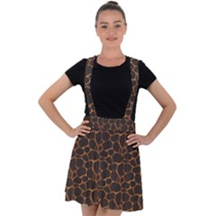 Animal Skin - Panther Or Giraffe - Africa And Savanna Velvet Suspender Skater Skirt by DinzDas