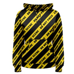 Warning Colors Yellow And Black - Police No Entrance 2 Women s Pullover Hoodie by DinzDas