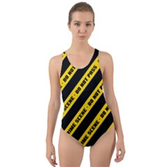 Warning Colors Yellow And Black - Police No Entrance 2 Cut-out Back One Piece Swimsuit by DinzDas