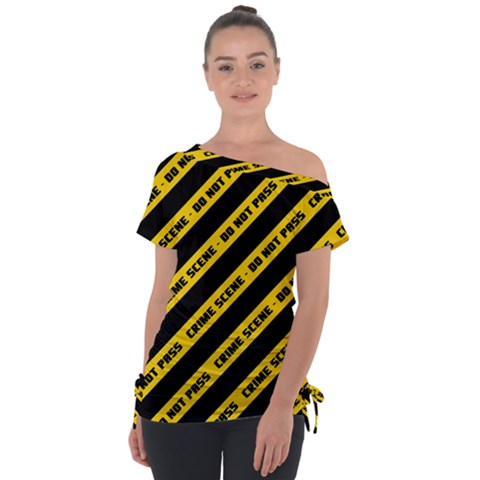 Warning Colors Yellow And Black - Police No Entrance 2 Tie-up Tee by DinzDas