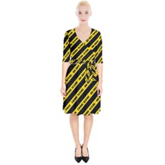 Warning Colors Yellow And Black - Police No Entrance 2 Wrap Up Cocktail Dress by DinzDas