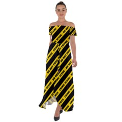Warning Colors Yellow And Black - Police No Entrance 2 Off Shoulder Open Front Chiffon Dress by DinzDas