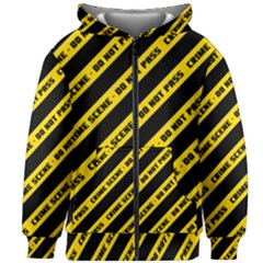 Warning Colors Yellow And Black - Police No Entrance 2 Kids  Zipper Hoodie Without Drawstring by DinzDas