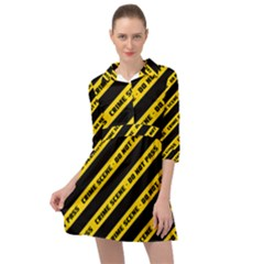 Warning Colors Yellow And Black - Police No Entrance 2 Mini Skater Shirt Dress by DinzDas