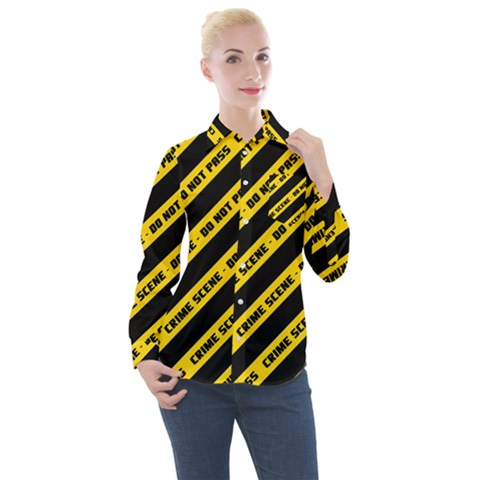 Warning Colors Yellow And Black - Police No Entrance 2 Women s Long Sleeve Pocket Shirt by DinzDas