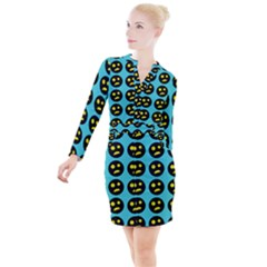 005 - Ugly Smiley With Horror Face - Scary Smiley Button Long Sleeve Dress by DinzDas