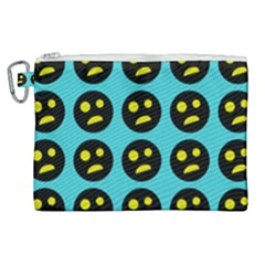 005 - Ugly Smiley With Horror Face - Scary Smiley Canvas Cosmetic Bag (xl) by DinzDas