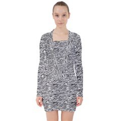 Zebra Pattern - Zebras And Horses - African Animals V-neck Bodycon Long Sleeve Dress by DinzDas