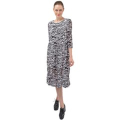 Zebra Pattern - Zebras And Horses - African Animals Ruffle End Midi Chiffon Dress by DinzDas