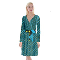 0059 Comic Head Bothered Smiley Pattern Long Sleeve Velvet Front Wrap Dress by DinzDas