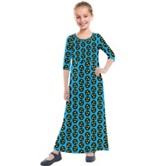 0059 Comic Head Bothered Smiley Pattern Kids  Quarter Sleeve Maxi Dress by DinzDas