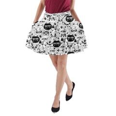 Cute Cat Faces Pattern A-line Pocket Skirt by TastefulDesigns