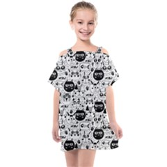Cute Cat Faces Pattern Kids  One Piece Chiffon Dress by TastefulDesigns