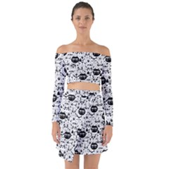 Cute Cat Faces Pattern Off Shoulder Top With Skirt Set