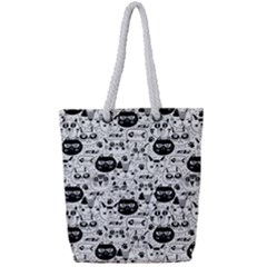 Cute Cat Faces Pattern Full Print Rope Handle Tote (small) by TastefulDesigns