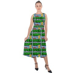 Game Over Karate And Gaming - Pixel Martial Arts Midi Tie-back Chiffon Dress by DinzDas