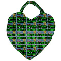 Game Over Karate And Gaming - Pixel Martial Arts Giant Heart Shaped Tote by DinzDas