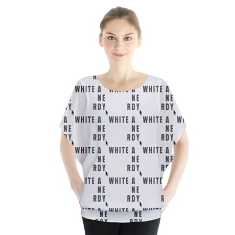 White And Nerdy - Computer Nerds And Geeks Batwing Chiffon Blouse by DinzDas