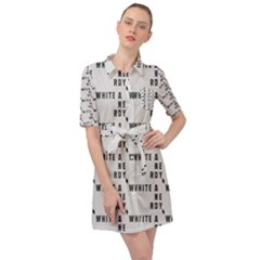 White And Nerdy - Computer Nerds And Geeks Belted Shirt Dress by DinzDas