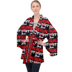 Just Killing It - Silly Toilet Stool Rocket Man Long Sleeve Velvet Kimono  by DinzDas